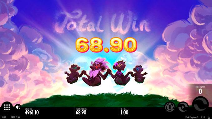 выигрыш в слот Pink Elephants